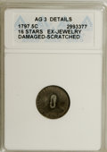 Early Half Dimes, 1797 H10C 16 Stars--Damaged, Ex-Jewelry, Scratched--ANACS. AG3Details. PCGS Population (0/53). Numisme...