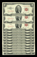 Small Size:Legal Tender Notes, Fr. 1511* $2 1953B Legal Tender Notes. Twelve Examples. Crisp Uncirculated.. ... (Total: 12 notes)