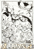 Original Comic Art:Splash Pages, Sergio Cariello and Nick Napolitano Justice League AmericaAnnual #10 Splash Page 4 Original Art (DC, 1996)....