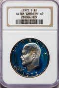 Proof Eisenhower Dollars: , 1972-S $1 Silver PR69 Ultra Cameo NGC. NGC Census: (757/0). PCGSPopulation (14297/33). Numismedia Wsl. Price for problem ...