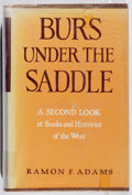 Books:Books about Books, Ramon F. Adams. Burs Under the Saddle. Univ. of Oklahoma, 1964. First edition, first printing. Ex-library with t...