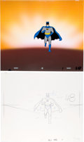 Animation Art:Production Cel, Super Friends Batman Production Cel with Clean-Up DrawingAnimation Art Group (Hanna-Barbera, 1973).... (Total: 2 Items)