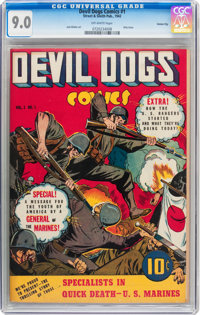 Devil Dogs #1 Carson City pedigree (Street & Smith, 1942) CGC VF/NM 9.0 Off-white pages