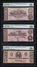 Confederate Notes:Group Lots, Three Different December 2, 1862 Notes.. ... (Total: 3 notes)