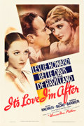 "Movie Posters:Comedy, It's Love I'm After (Warner Brothers, 1937). One Sheet (27"" X41"").. ..."