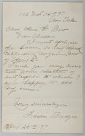 Autographs:Artists, Fidelia Bridges (1835-1923, American Artist). Autograph LetterSigned. Very good....