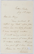 Autographs:Authors, Thomas Hood (1799-1845, British Poet). Autograph Letter Signed.Good....