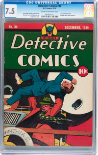 Detective Comics #34 (DC, 1939) CGC VF- 7.5 Cream to off-white pages