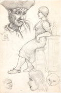 Original Comic Art:Sketches, Robert Crumb Long John Silver Sketchbook Original Art dated 5-6-61 (1961)....