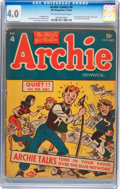 Golden Age (1938-1955):Humor, Archie Comics #4 (Archie, 1943) CGC VG 4.0 Off-white to white pages....