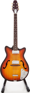 Musical Instruments:Electric Guitars, 1967 No-Name Double Pickup Sunburst Semi-Hollow Body ElectricGuitar, #Japan....