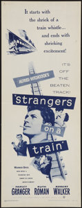 "Movie Posters:Hitchcock, Strangers on a Train (Warner Brothers, R-1957). Insert (14"" X 36"").Hitchcock.. ..."
