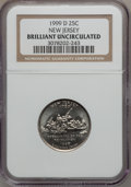 Statehood Quarters, 1999-D 25C New Jersey Brilliant Uncirculated NGC. NGC Census:(0/1051). PCGS Population (0/1979). Numismedia Wsl. Price fo...