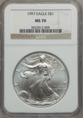 Modern Bullion Coins: , 1997 $1 Silver Eagle MS70 NGC. NGC Census: (476). PCGS Population(3). Mintage: 4,295,004. Numismedia Wsl. Price for proble...