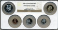 Proof Sets, 2006-S 1C Clad Proof Set PR70 Ultra Cameo NGC. This set includes: Lincoln Cent, Monticello Nickel, Roosevelt Dime, Kennedy ... (Total: 5 coins)