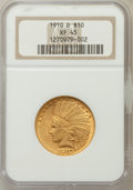Indian Eagles: , 1910-D $10 XF45 NGC. NGC Census: (13/11068). PCGS Population(25/8849). Mintage: 2,356,640. Numismedia Wsl. Price for probl...