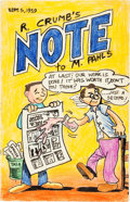 Original Comic Art:Sketches, Robert and Charles Crumb R. Crumb's Note to M. Pahls Cover and Letter Original Art dated 9-5-59 (1959)....