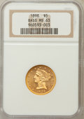 Liberty Half Eagles, 1898 $5 MS63 NGC. Ex: Bass. NGC Census: (313/156). PCGS Population(123/50). Mintage: 633,495. Numismedia Wsl. Price for pr...