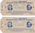Golf Collectibles:Autographs, 1947 Celebrity Golf Tournament Badges Lot of Two, Signed....