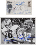 Football Collectibles:Others, 1980's Jim Brown and Football Hall of Famers Signed Lot of Four....