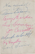 Hockey Collectibles:Others, 1949-50 Montreal Canadiens Multi Signed Rocket Richard Exhibit Card....