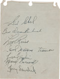 Hockey Collectibles:Others, 1950-51 Detroit Red Wings Multi Signed Autograph Album Sheet - With Rookie Terry Sawchuk Signature!...