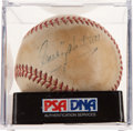 Autographs:Baseballs, Circa 1940 Gabby Hartnett Single Signed Baseball, PSA/DNA VG-EX+4.5....