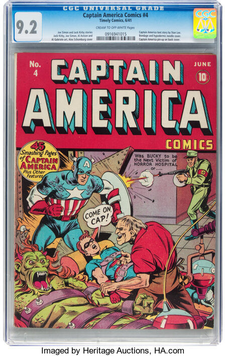 Captain America Comics #4 (Timely, 1941) CGC NM- 9.2 Cream to off-white pages....