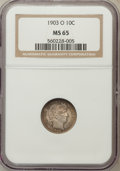 Barber Dimes: , 1903-O 10C MS65 NGC. NGC Census: (5/1). PCGS Population (12/3).Mintage: 8,180,000. Numismedia Wsl. Price for problem free ...