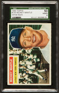 Baseball Cards:Singles (1950-1959), 1956 Topps Mickey Mantle, White Back #135 SGC 50 VG/EX 4....