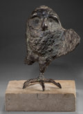 Bronze:Contemporary, A LEONARD BASKIN (American, 1922-2000) PATINATED BRONZE OWL . 20thcentury . 11-1/2 inches high (29.2 cm). ...