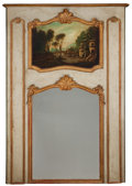 Decorative Arts, French:Other , A FRENCH PAINTED AND GILT WOOD TRUMEAU MIRROR . Circa 1900. 61inches high x 43 inches wide (154.9 x 109.2 cm). ...
