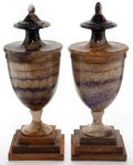 Decorative Arts, British:Other , A PAIR OF ENGLISH BLUE JOHN URNS . 19th century . 11 inches (27.9cm) (taller). ... (Total: 2 Items)