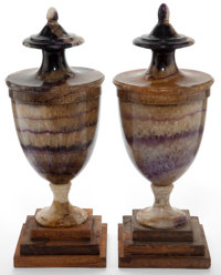 A PAIR OF ENGLISH BLUE JOHN URNS 19th century 11 inches (27.9 cm) (taller)