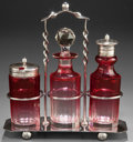 Silver Holloware, Continental:Holloware, AN ENGLISH SILVER PLATED AND GLASS BOTTLE SET WITH STAND . Circa1875. Marks: (fleur-de-lis, chicken) D&S, EPNS. 7-3/4i... (Total: 6 Items)