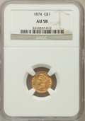 Gold Dollars: , 1874 G$1 AU58 NGC. NGC Census: (180/3302). PCGS Population(262/2698). Mintage: 198,820. Numismedia Wsl. Price for problem ...