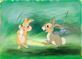 Animation Art:Production Cel, Bambi Thumper Production Cel with Background Animation Art(Disney, 1942)....