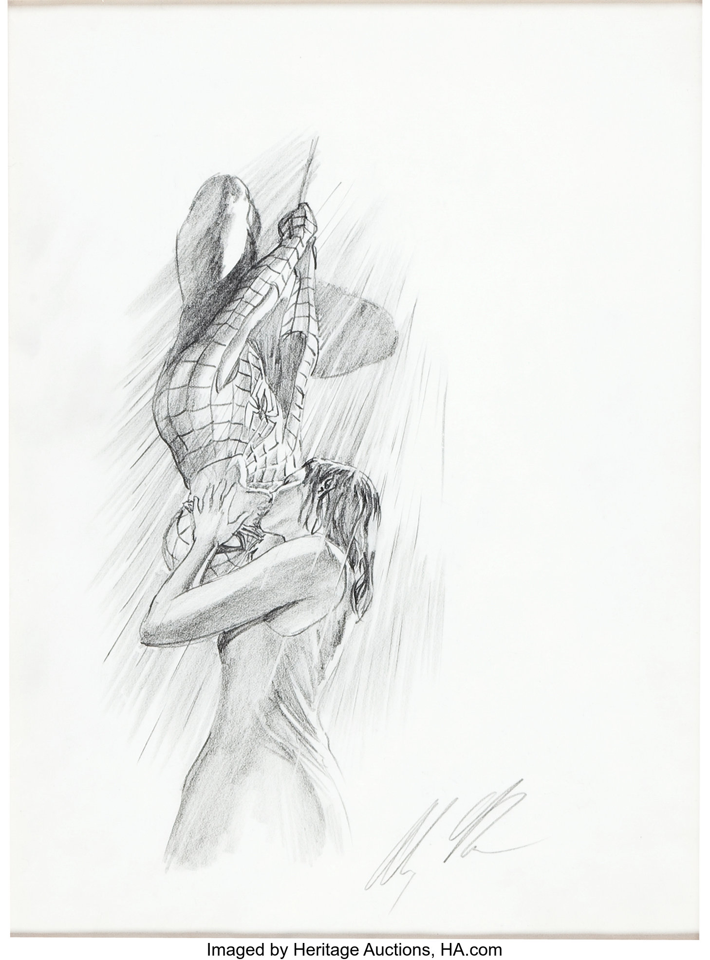 Alex Ross Spider Man And Mary Jane Kiss Pencil Illustration For Lot 92254 Heritage Auctions