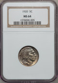 Buffalo Nickels: , 1920 5C MS64 NGC. NGC Census: (331/136). PCGS Population (486/351).Mintage: 63,093,000. Numismedia Wsl. Price for problem ...