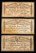 Confederate Notes:Group Lots, Three Confederate $30 Bond Coupons Very Fine.. ... (Total: 3 items)
