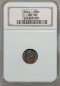 Seated Half Dimes: , 1861 H10C AU58 NGC. NGC Census: (46/411). PCGS Population (32/328).Mintage: 3,361,000. Numismedia Wsl. Price for problem f...