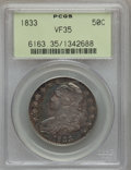 Bust Half Dollars: , 1833 50C VF35 PCGS. PCGS Population (66/1279). NGC Census:(36/1188). Mintage: 5,206,000. Numismedia Wsl. Price for problem...