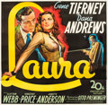 "Movie Posters:Film Noir, Laura (20th Century Fox, 1944). Six Sheet (81"" X 81"").. ..."