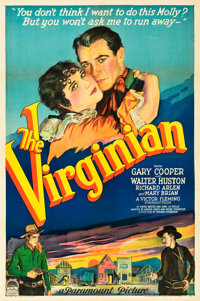 """The Virginian (Paramount, 1929). One Sheet (27"""" X 41"""") Style B - Silent Version"""