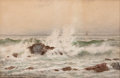 Works on Paper, LAURA WOODWARD (American, 1834-1923). The Breakers. Watercolor on board . 11-1/4 x 17-1/4 inches (28.6 x 43.8 cm). Signe...