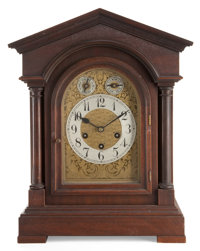 A GERMAN WOOD TEMPLE-FORM MANTLE CLOCK Early 20th century Marks to movement: (star over A09), GERMANY<