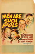 """Movie Posters:Drama, Men Are Such Fools (Warner Brothers, 1938). Window Card (14"""" X 22"""").. ..."""