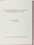 Books:Reference & Bibliography, Jayne K. Kribbs [editor]. An Annotated Bibliography of AmericanLiterary Periodicals, 1741-1850. Hall, 1977. First e...