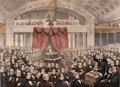 Prints, DANIEL WEBSTER ADDRESSING THE UNITED STATES SENATE IN THE GREATDEBATE ON THE COMPROMISE MEASURES . 1850. 83-3/4 x 101 i...