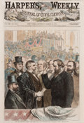 Prints, OUR NEW PRESIDENT--TAKING THE OATH. 19th century. 15 x 10inches (38.1 x 25.4 cm). Drawn by I. P. Pranishnkoff after a p...